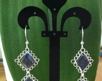 Lapis Lazuli double tiered earrings wrapped in silver filled wire