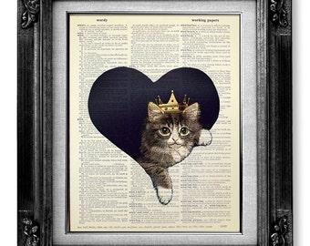 CAT Art Print, Cat Decor, KITTEN Art Cat Heart Art, Kitten Cat Painting, Cute Cat Illustration, Kitten Print Cat Poster, Gray Tabby Cat KING