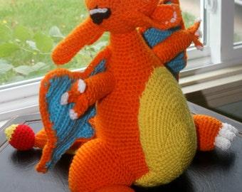 Amigurumi Pokemon Charizard : Hand-made Crochet Pokemon Charizard Amigurumi Look-alike