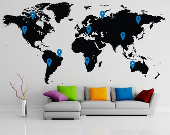 World map decal 137''W