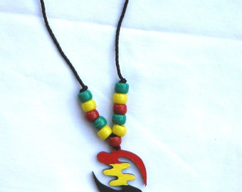 Gye Nyame Necklace: Red, yellow and green