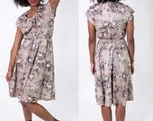 Moving SALE! Vintage 1960's Brown Floral Day Dress / Tie Waist / Scoop Neck / Mad Men / Curtain Pattern