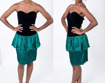 Vintage 1980's Green / Black Valour Satin Party Dress / Prom Dress / Strapless / Peplum Skirt / Cocktail Dress / My Michelle