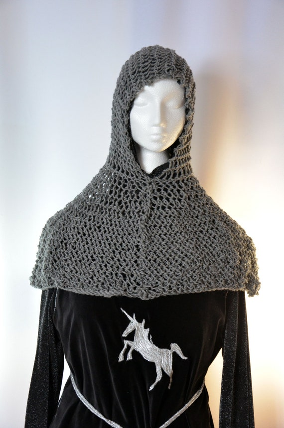 Chainmail Hood Knitting Pattern : Faux chain mail coif and collar a hand knit by ...