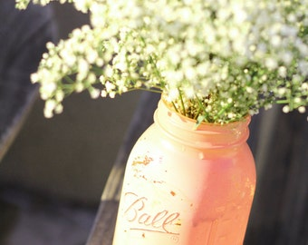 Quart Mason Jar 1pc. in Salmon Pink / Distressed Painted Glass Jar Wedding Decoration / Wedding Centerpiece in Coral Pink by The Roche Shop
