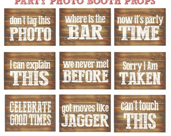 Party Photo Booth Props Printable 9 Large Funny DIY  photobooth props for any  party. Rustic  wood inspired photo prop signs