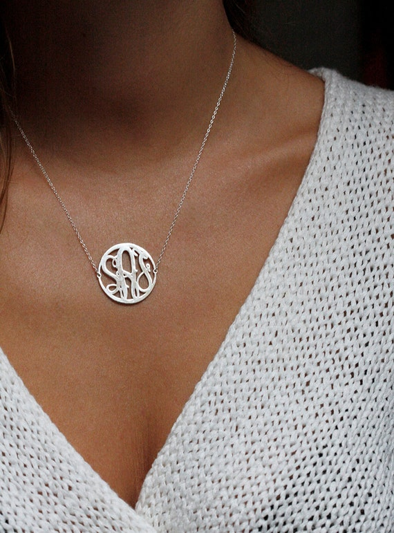 Items similar to silver circle initial necklace silver monogram items similar to silver circle initial necklace silver monogram necklace 1 inch monogram necklace small monogram family necklace on etsy aloadofball Images
