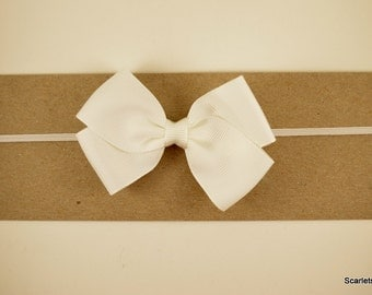 White Grosgrain Bow Headband - Baby Headband - Toddler Headband - Adult Headband