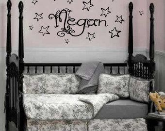 Personalized Name Stars Wall Decals // sticker // nursery art // baby // kids room decor // child custom // FA06