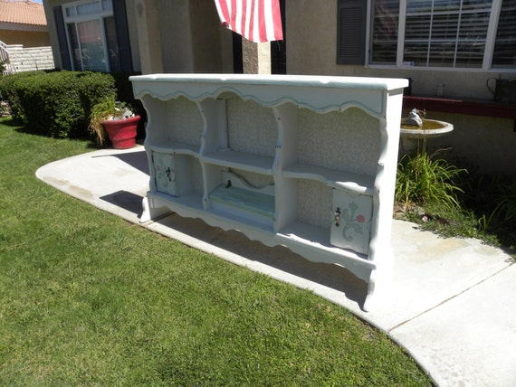 Upcycled Repurposed Waterbed Shabby Chic Headboard Bookshelf