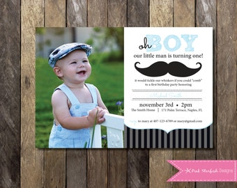 Little Man Mustache First Birthday Invitation, Little Man Invitation, Mustache Invitation, Little Man Birthday Invitation, Digital Printable