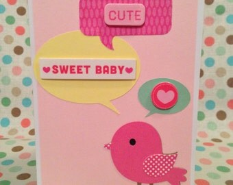 Baby Girl Tweet Card, Baby Shower Card, Baby Card, Congratulations, Handmade Greeting Card