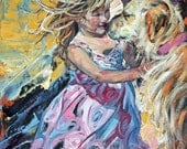Giclee art print, original impressionist, oil painting, abstract wall art, golden retriever, animal painting, modern art print, 'Puppy Love'