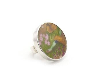 Porcelain Ring, Antique Broken China Jewelry, Japanese Dish Ring