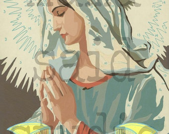 11x14 Print of  Vintage Paint By Number PBN Baby Mama Mary
