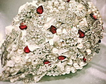 Cascading Bridal Brooch Bouquet. Deposit on made to order Ivory Red White Pearl Teardrop Wedding Bling Diamond Broach Bouquet