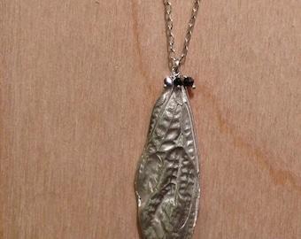 diamond + cicada wing necklace -sterling silver black diamond- rough cut diamond