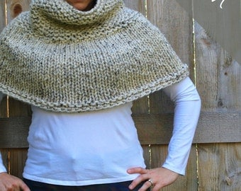 Knitting PATTERN - Poncho Cape - Chunky Cape - Easy