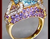 Vintage 1960's 14K Yellow Gold Blue Topaz, Amethyst and Diamond Cocktail Ring