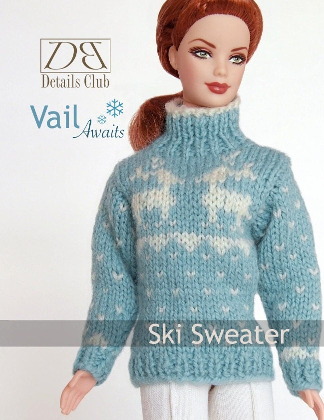 Free Knitting Patterns For Ken Dolls : Knitting pattern for 11 1/2 doll Barbie: Ski Sweater