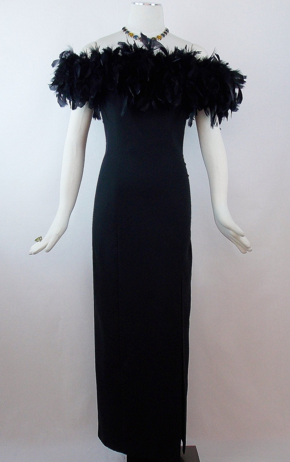 Vintage Off Shoulder Feather Gown Full Length Fitted Style