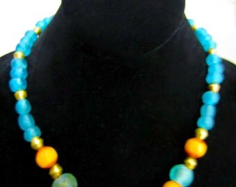 African Recycled Glass, Brass, and Resin Necklace