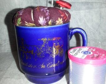 SALE!!  Pincushion in a vintage Charleston, South Carolina cup-vintage-retro-handmade-unique