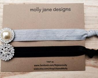 Jeweled Hair Tie/ Woman Hair Accessory/ Rhinestone Hair Tie /Jillian Jewel Hair Ties