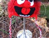 Red Monster Crocheted Hat