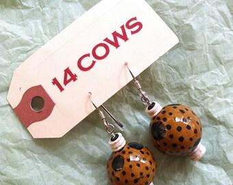 14 Cows Earrings; Kazuri Beads: 50% OFF