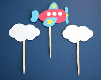 Airplane and Cloud Cupcake Toppers - Set of 12