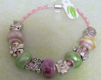 103 - CLEARANCE - Pink and Green Bracelet