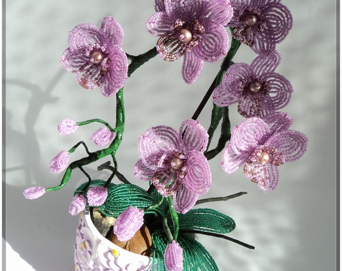 French Beaded Artificial Topiary Orchid Plant Flower in Pot