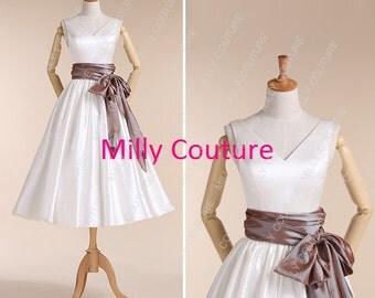 V neck 1950s tea length wedding dress,rockabilly short wedding dress, retro 1950s wedding dress,Elizabeth