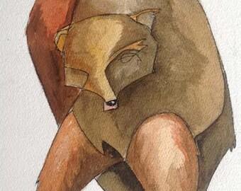 """Brown Bear 3. Fine Art Print . 11 x 17"""" / 28 x 43 cm"""