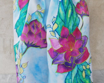 Light Blue silk scarf, pink flowers,purple flowers, hand painted scarf , floral scarf, silk scarves, Mother's day gift, Mom gift