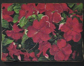 Hand painted 5x7 Red Flowers on canvas