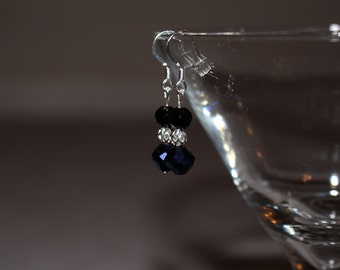 Black & Blue Earrings with Silver Ball