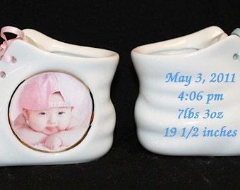 1 Personalized Photo Ceramic Baby Shoe Bootie Keepsake Newborn Birthday Gift