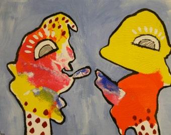 Acrylic Painting Original  Abstract Figurative Fun Hello Baby.
