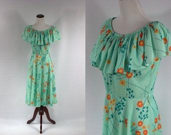 S a l e •Seafoam Floral 70s Ruffle Dress -- Size Sm