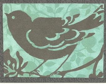 Aqua and Plum Perching Bird Card