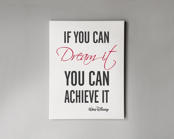 Famous Quotes For Wall Art : Inspirational quote art canvas disney wall by