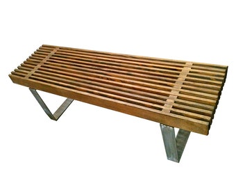 Modern Slat Bench // Eames Era Inspired Coffee Table by mc lemay