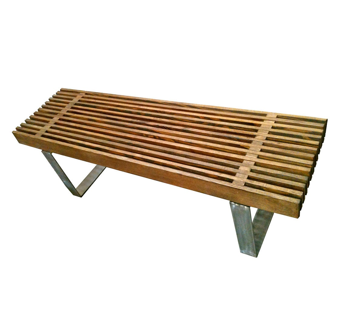 Eames Coffee Table Square: Modern Slat Bench // Eames Era Inspired Coffee Table By Mc