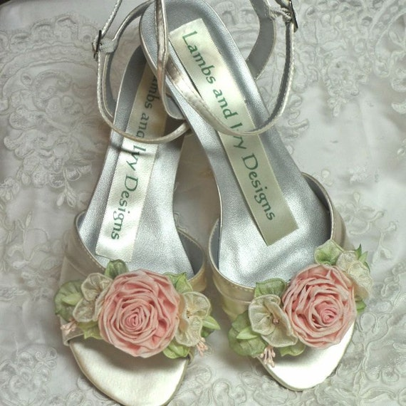 Garden Wedding Pink Rose Wedding Shoes Bridal Shoes By