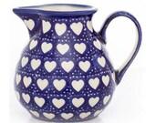 Handmade Love Hearts Blue Cobalt Medium Jug