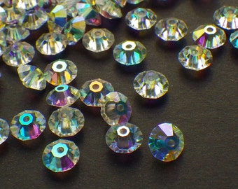 Vintage Swarovski Crystal Beads, Crystal 5305 With Aurore Boreale Finish, 5mm Crystal Beads, 35 Vintage Crystal Beads