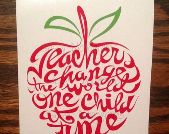 Teachers Change The World One Child At A Time ~ GLITTER ~ Word Apple Vinyl Decal