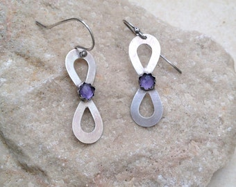 Amethyst Earrings , Sterling silver earrings , Handmade , Gemstone earrings  Dangle Earrings ,  for girls ,  for women , everyday wear
